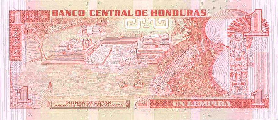 Back Side of the Honduran Lempira with Copan on it.