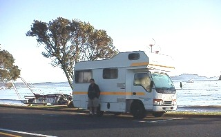 Dave in front of the campervan in the Bay of Islands