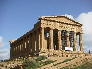 Temple of Concordia in Agrigento, note the plague of scaffolding...