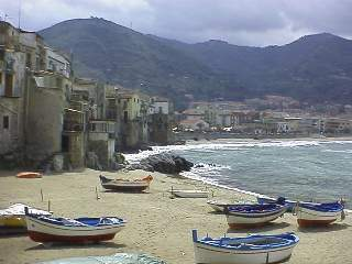 Fishing boats on the beach in Cefalu