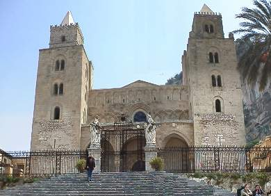 The front of the cathedral in Cefalu