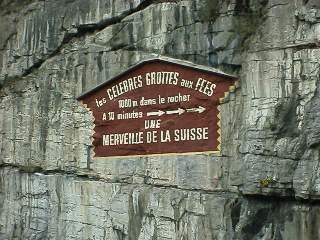 The sign for the cave