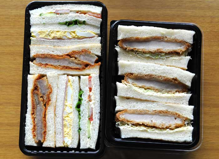 Egg Salad, Fried Pork, & Tomato-Cucumber Sandwiches