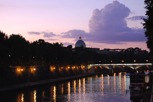Rome, Ponte Sisto at sunset