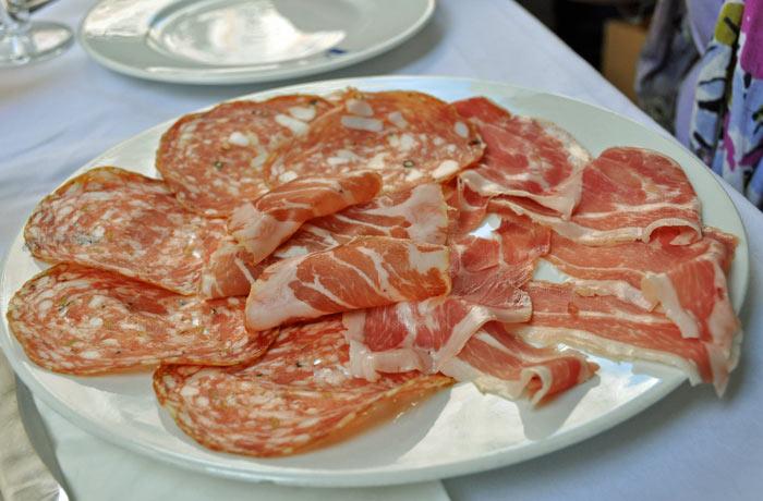 Salumi plate at La Fiametta
