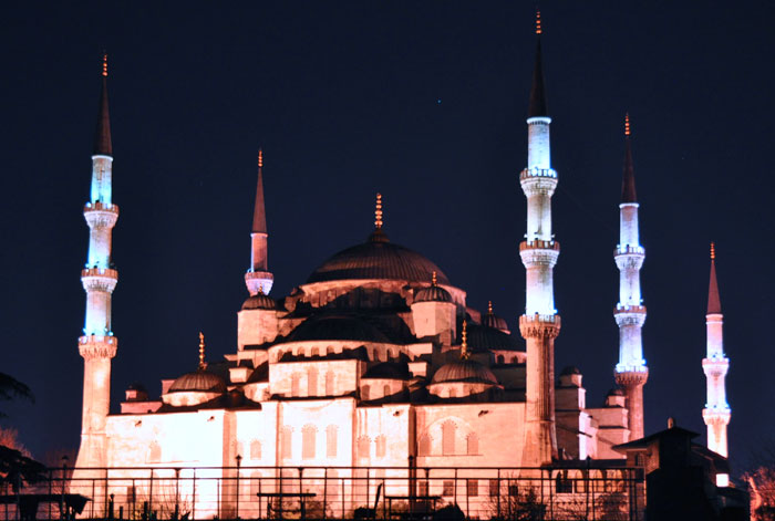 Blue Mosque at night.