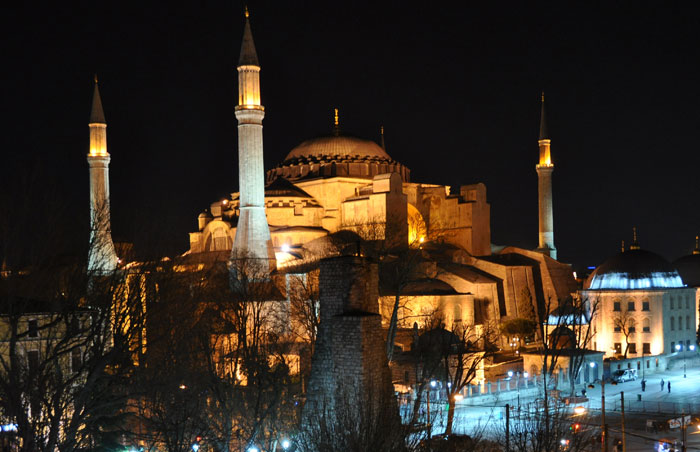 Hagia Sophia at night.