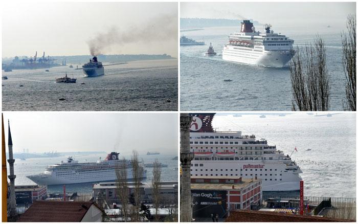 Ship docking near Istanbul Modern