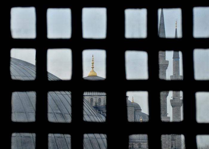 Hagia Sophia window view of Blue Mosque