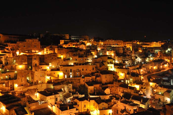 Matera Italy at night on www.wired2theworld.com