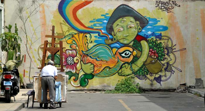 Mural in Miraflores neighborhood of Lima Peru on wired2theworld.com
