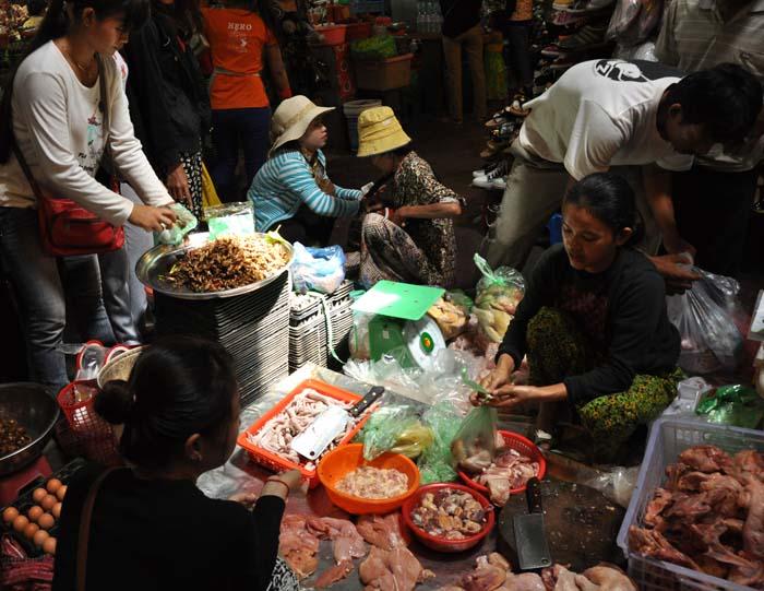 Siem Reap Old Market crispy bugs