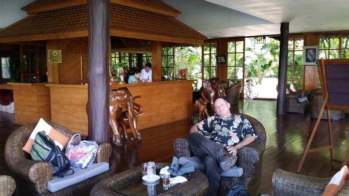David in the Inle Resort lobby