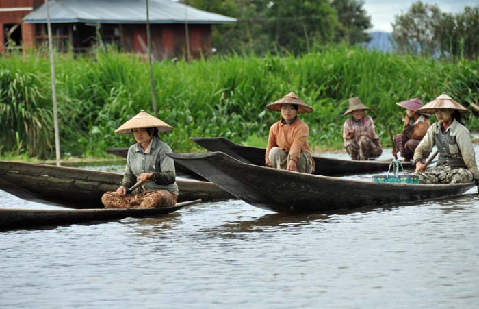 Inle Lake women on their way to market