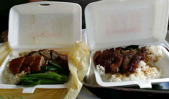 Food we brought on to the train; BBQ pork and duck with rice.