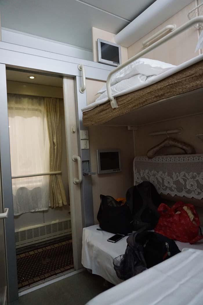 Two berth soft sleeper overnight train Hong Kong to Shanghai.
