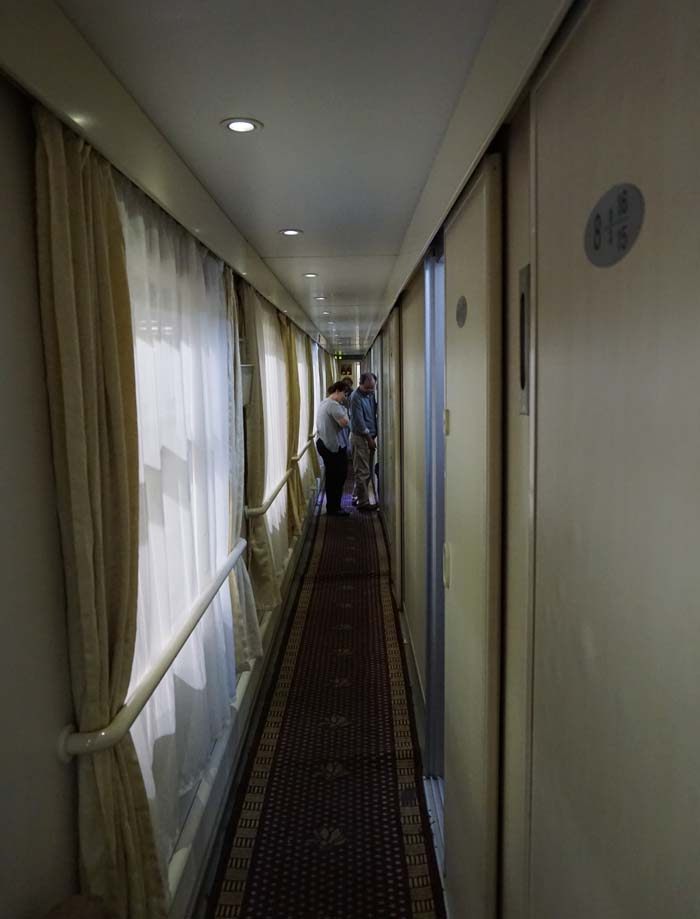Hallway on first class carriage on overnight train Hong Kong to Shanghai.