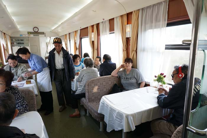 Dining car on the overnight train from Hong Kong to Shanghai.
