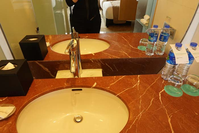 Le Meridien Shanghai Bathroom-why is there such a large gap at the back of the counter?
