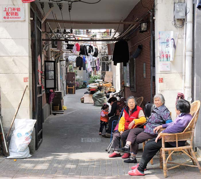 Street life in Shanghai's French Concession neighborhood