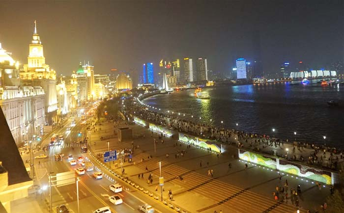 View of the Bund at night