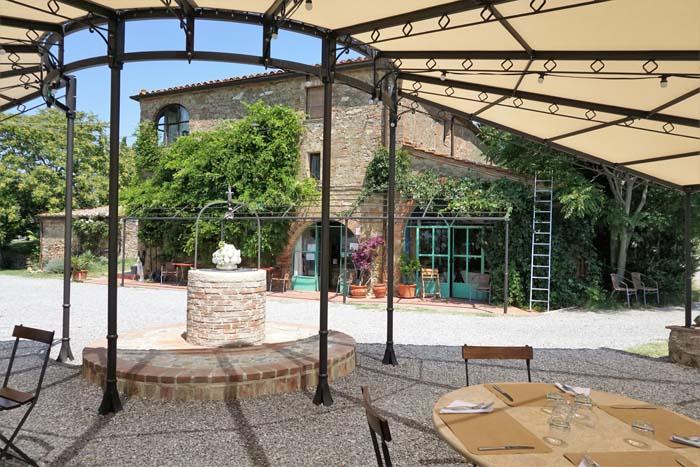 Outside dining area of Il Casale Farm