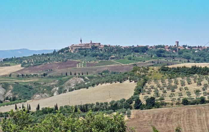 View of Pienza from Il Casale Farm