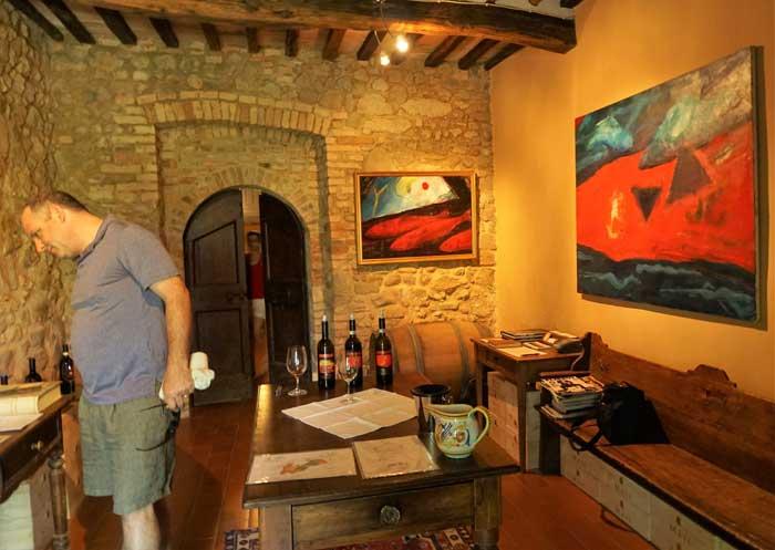 Tasting room with original paintings.