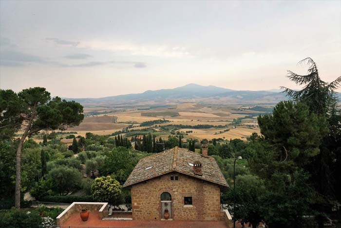 View from town to countryside in Pienza Italy