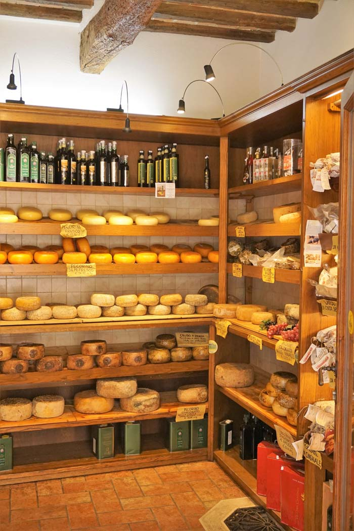 Cheese shop in Pienza Italy