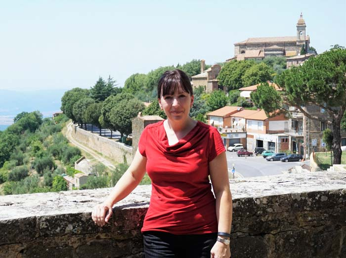 Kristina, with Montalcino in the background